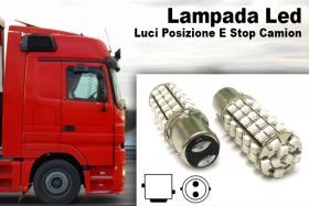 24V Lampada Led BAY15D 1157 S25 68 Smd Rosso Luci Posizione Stop Camion